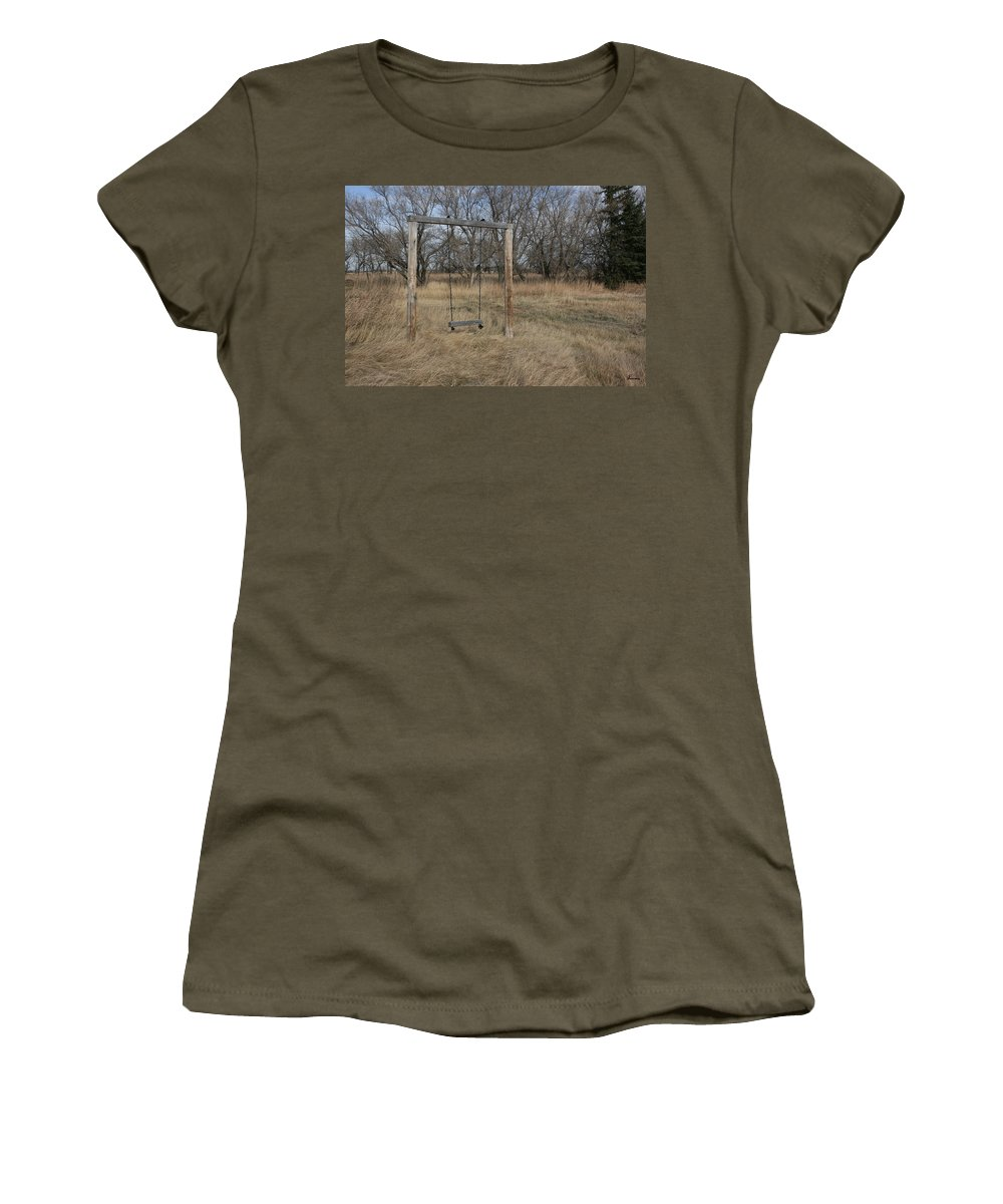 Swing Old Farm Grass Abandoned Trees Playgorund Lost Empty Lonely Women's T-Shirt featuring the photograph Who Played Here by Andrea Lawrence