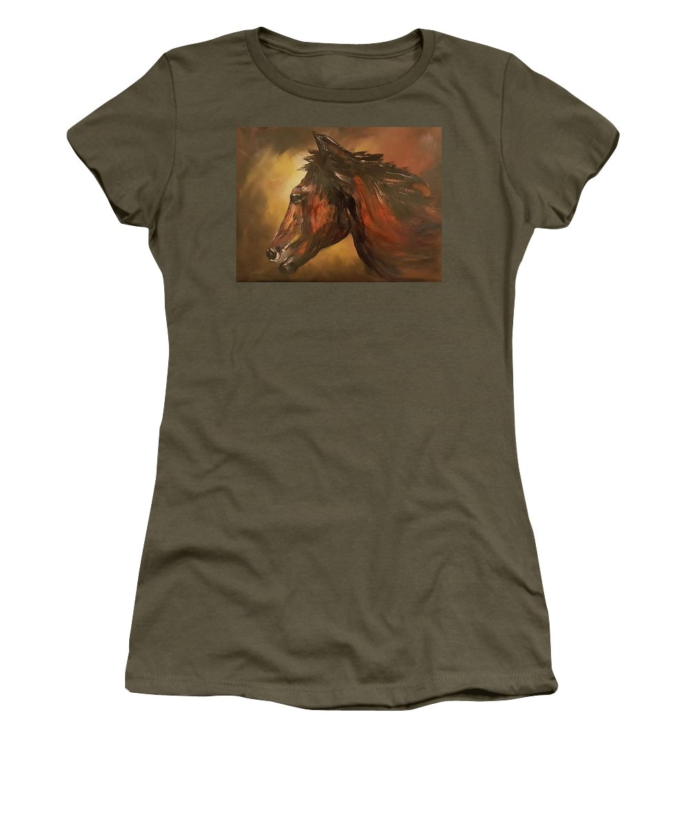 Horse Women's T-Shirt featuring the painting Wild And Free          83 by Cheryl Nancy Ann Gordon