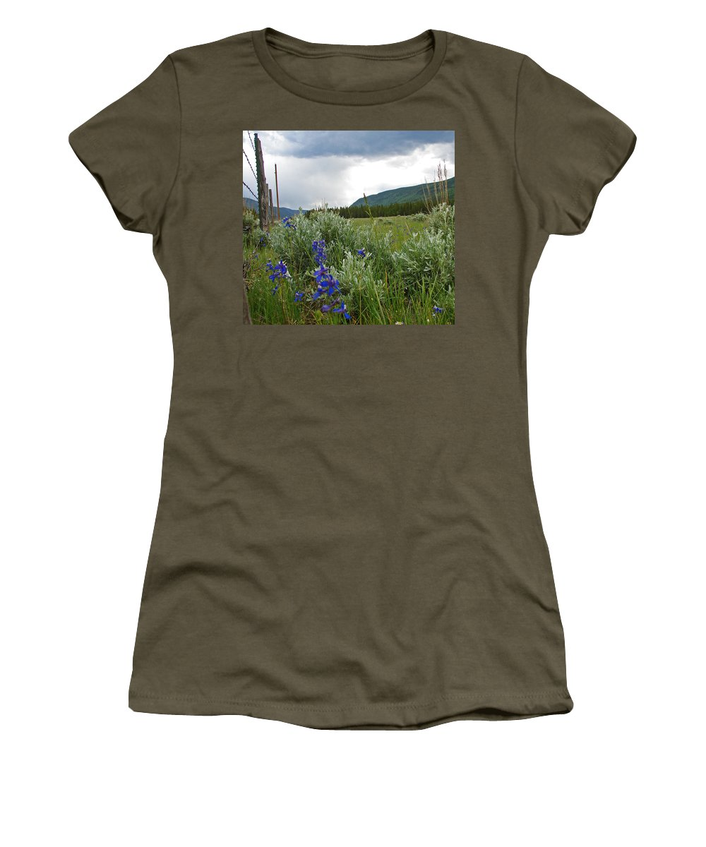 Wild Flowers Women's T-Shirt (Athletic Fit) featuring the photograph Wild Delphinium by Heather Coen