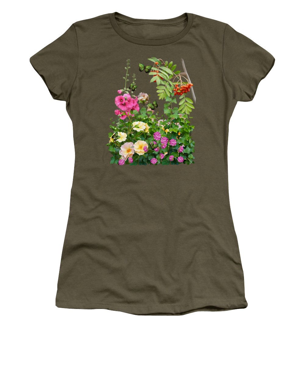 Painting Women's T-Shirt (Athletic Fit) featuring the painting Wild Garden by Ivana Westin