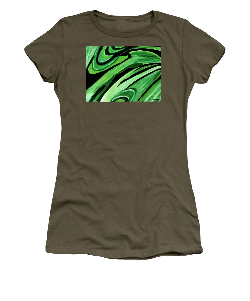 Painting Women's T-Shirt featuring the painting Wild Green by Yael VanGruber