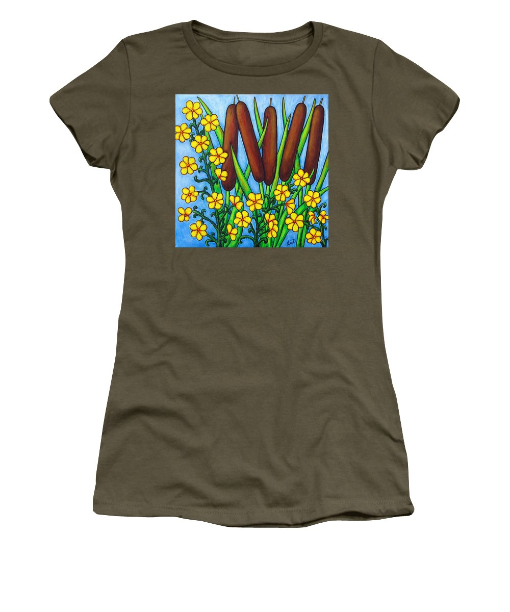 Cat Tails Women's T-Shirt (Athletic Fit) featuring the painting Wild Medley by Lisa Lorenz