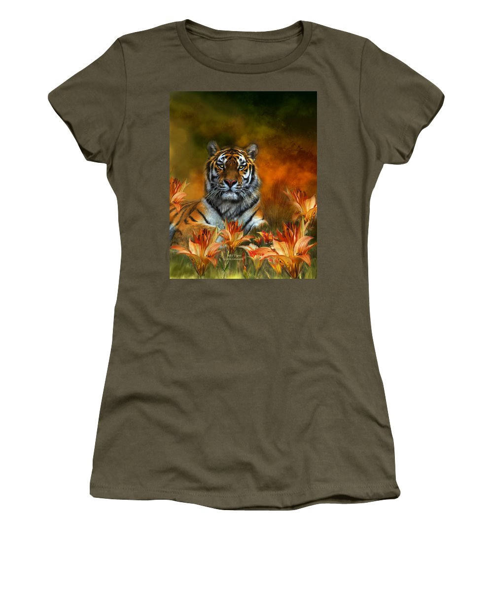 Tiger Women's T-Shirt (Athletic Fit) featuring the mixed media Wild Tigers by Carol Cavalaris