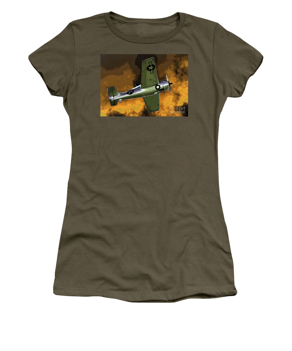 Wildcat Women's T-Shirt featuring the painting Wildcat by David Lee Thompson