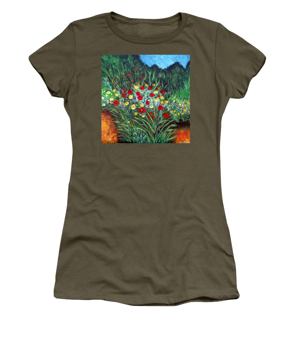 Abstract Women's T-Shirt featuring the painting Wildflower Garden 1 by Nancy Mueller