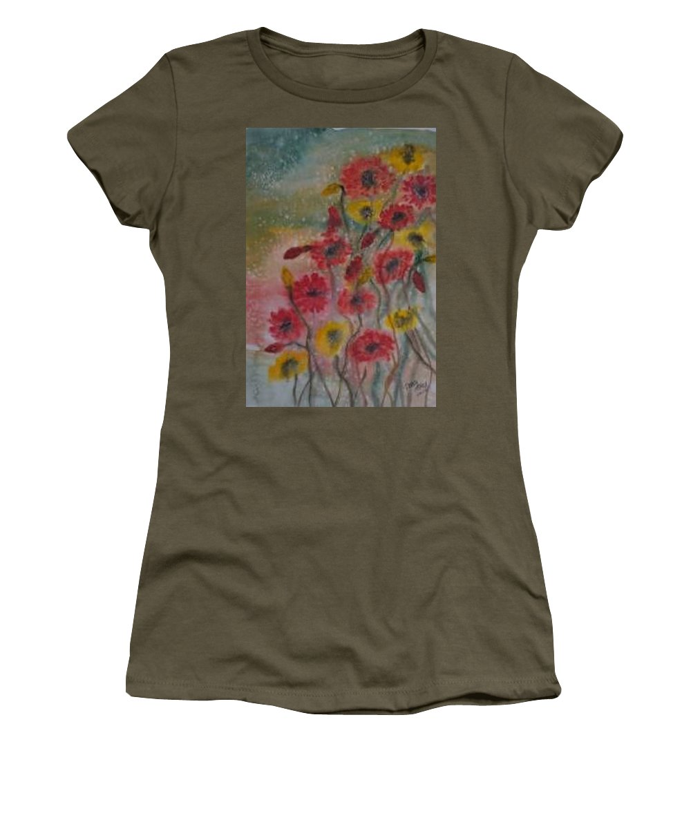 Watercolor Women's T-Shirt (Athletic Fit) featuring the painting Wildflowers Still Life Modern Print by Derek Mccrea
