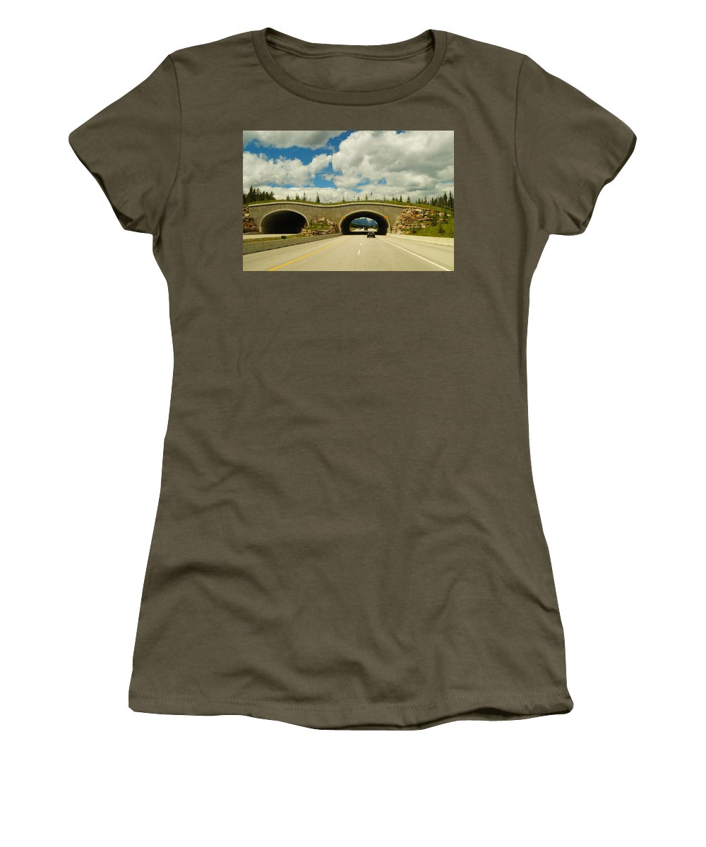 Banff National Park Women's T-Shirt featuring the photograph Wildlife Crossing by Beth Collins