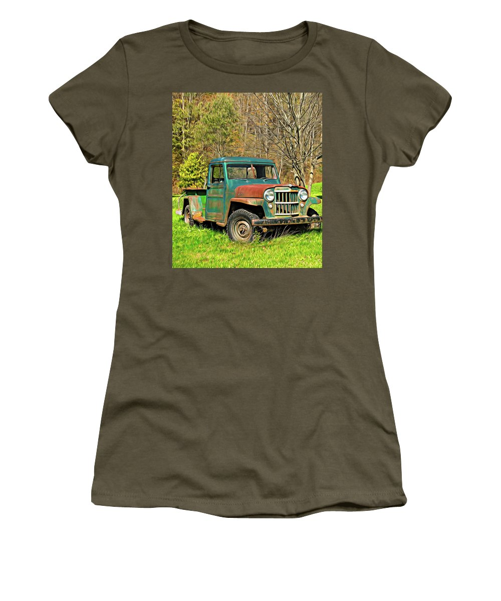 Vehicle Women's T-Shirt featuring the photograph Willys Jeep Pickup Truck - Paint by Steve Harrington