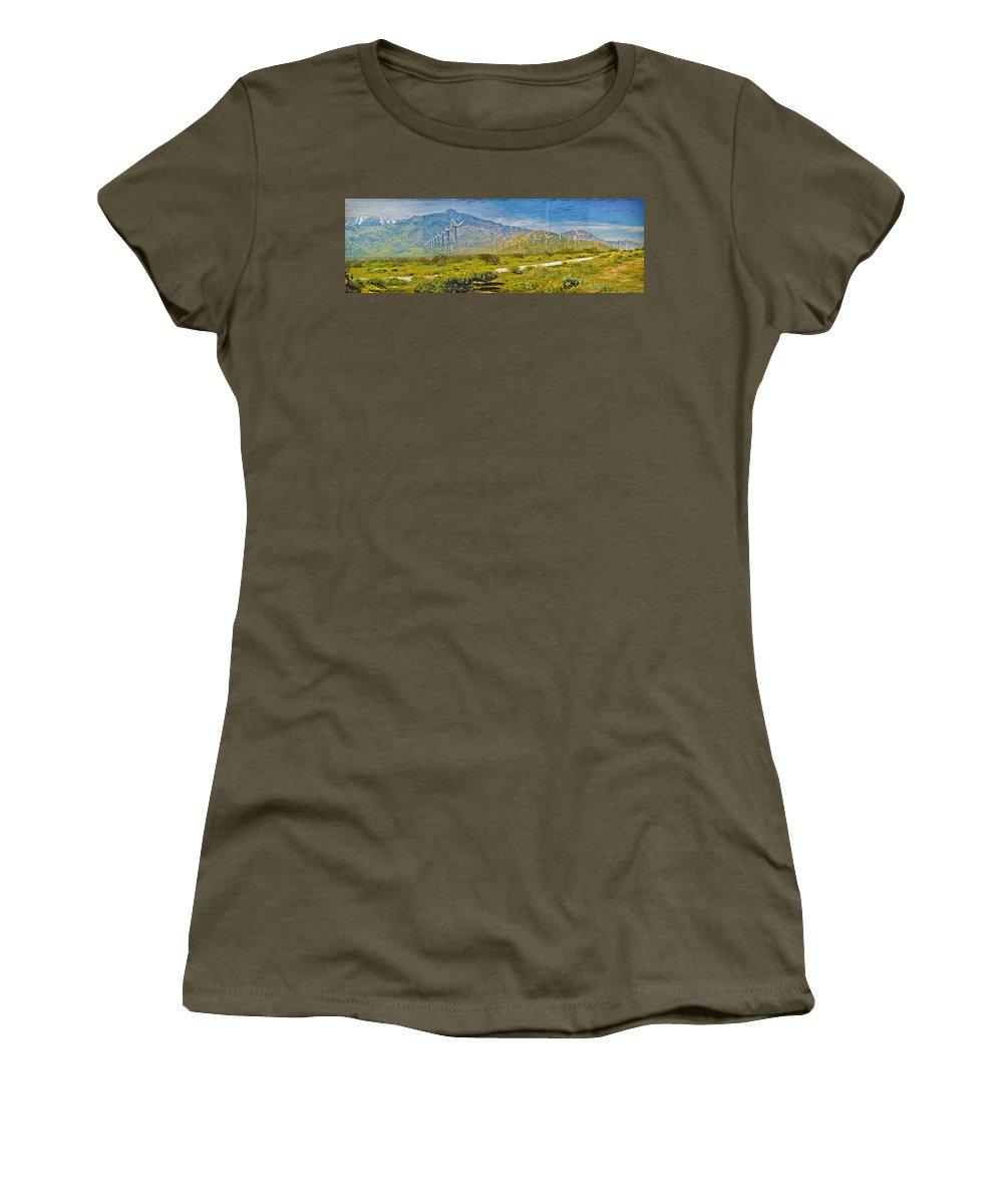 Wind Turbine Farm Palm Springs Ca Women's T-Shirt featuring the photograph Wind Turbine Farm Palm Springs Ca by David Zanzinger