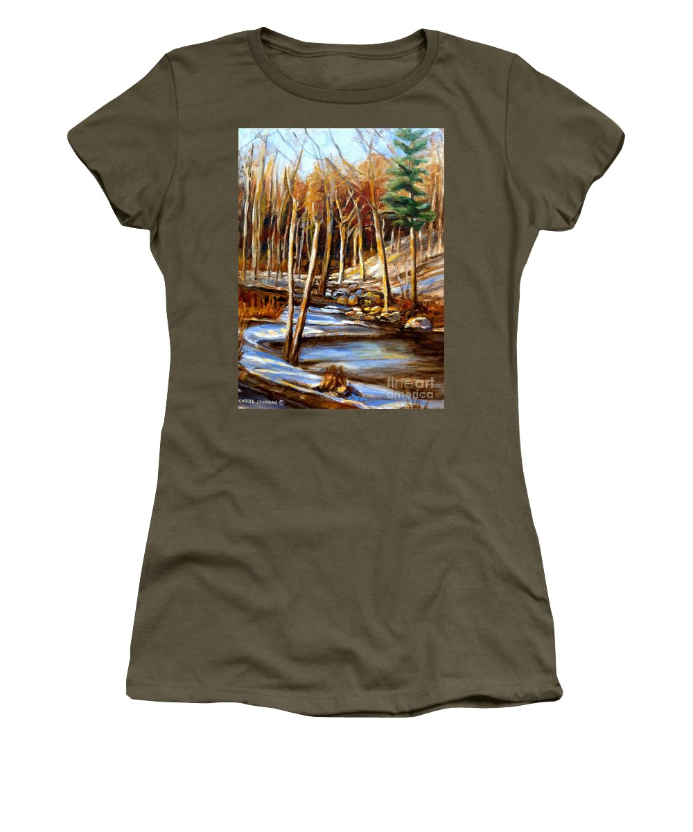Windiing Stream Women's T-Shirt (Athletic Fit) featuring the painting Winding Stream by Carole Spandau