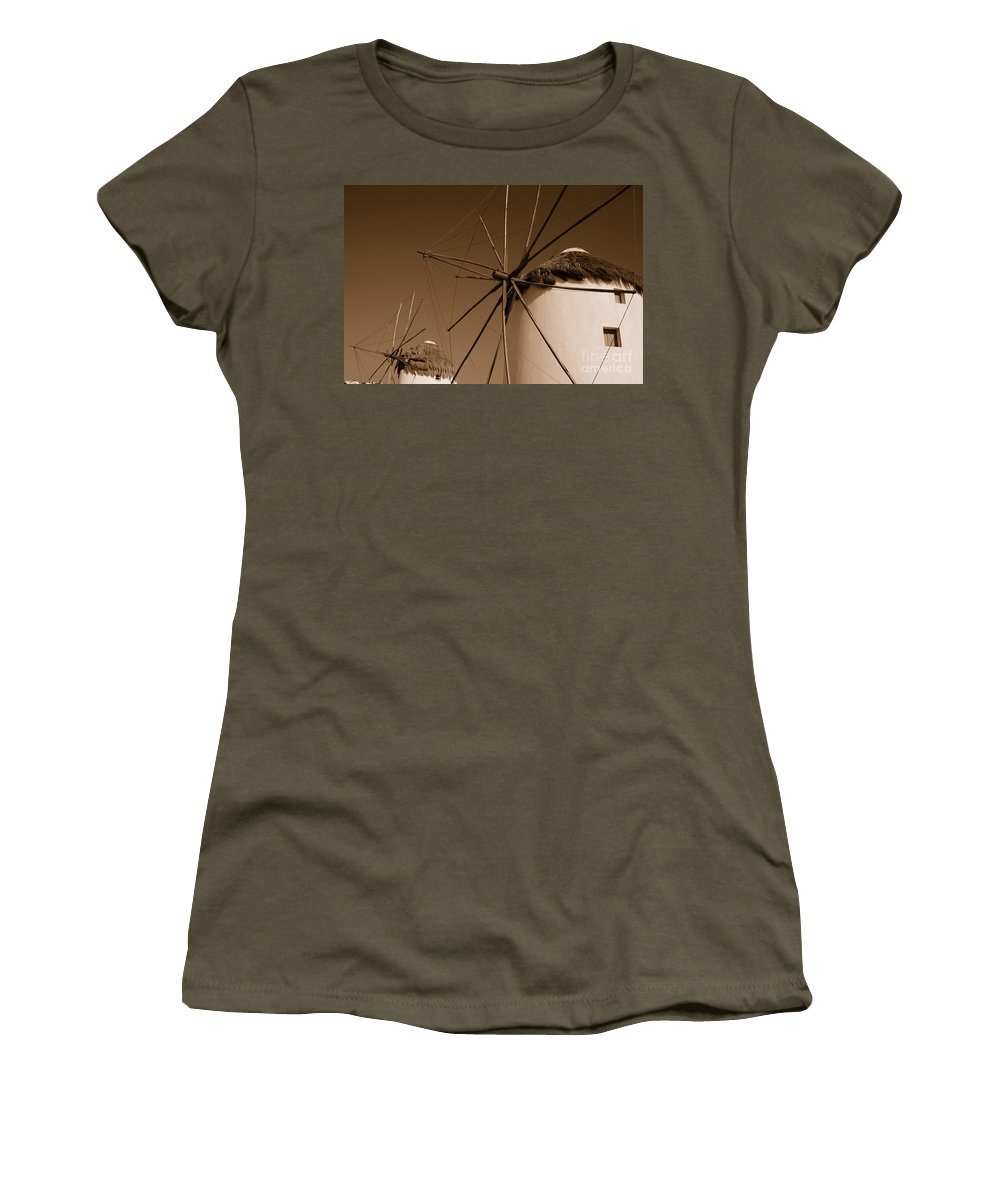 Mykonos Women's T-Shirt featuring the photograph Windmills In Sepia by Joe Ng