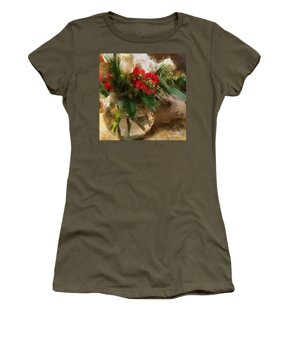 Flowers Women's T-Shirt featuring the photograph Winter Flowers In Glass Vase by Claire Bull