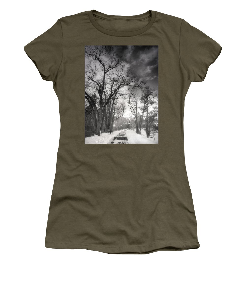 Path Women's T-Shirt featuring the photograph Winter Pathways by Tara Turner