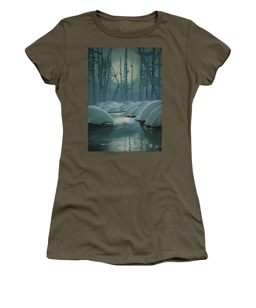 River Women's T-Shirt featuring the painting Winter Quiet by Jacqueline Athmann
