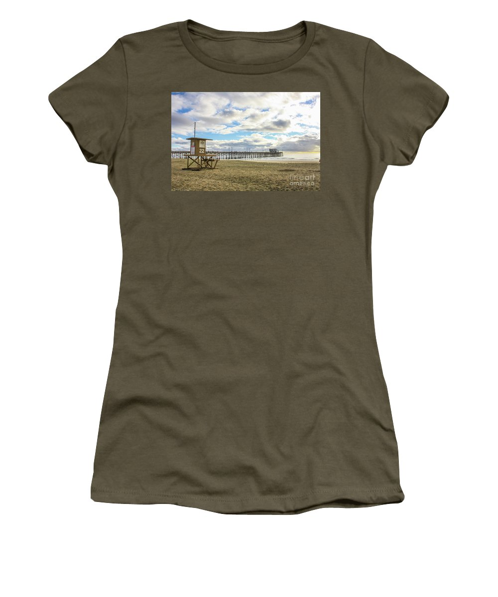 Balboa Pier Women's T-Shirt featuring the photograph Winters Beach by Tommy Anderson