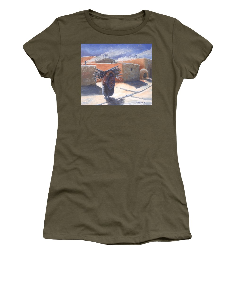 Adobe Women's T-Shirt featuring the painting Winter's Work by Jerry McElroy