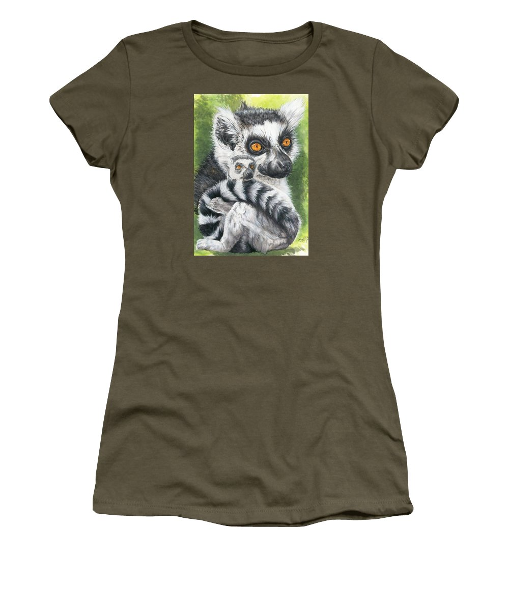Lemur Women's T-Shirt (Athletic Fit) featuring the mixed media Wistful by Barbara Keith