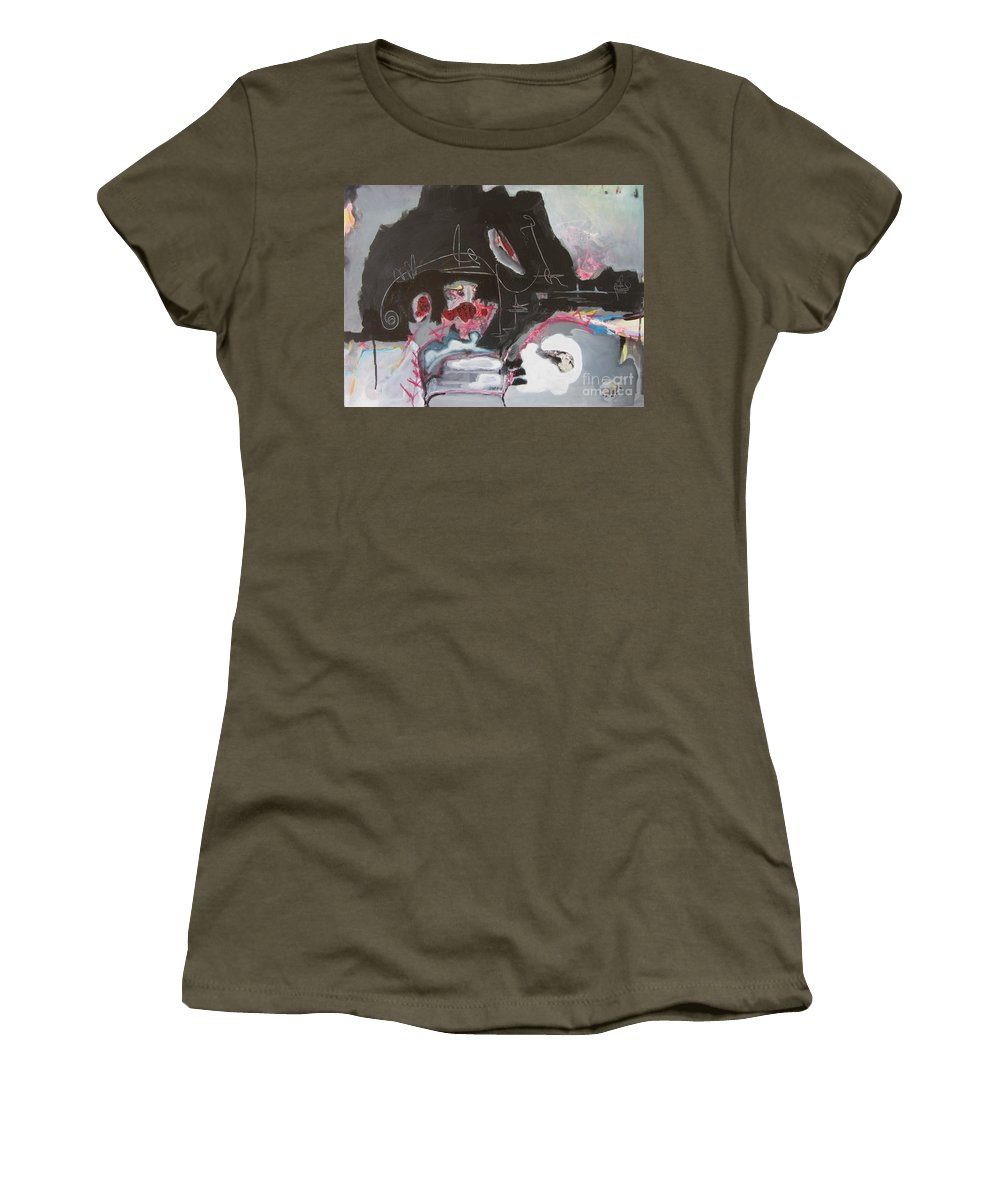 Abstract Paintings Women's T-Shirt (Athletic Fit) featuring the painting With Little Escape From Life by Seon-Jeong Kim