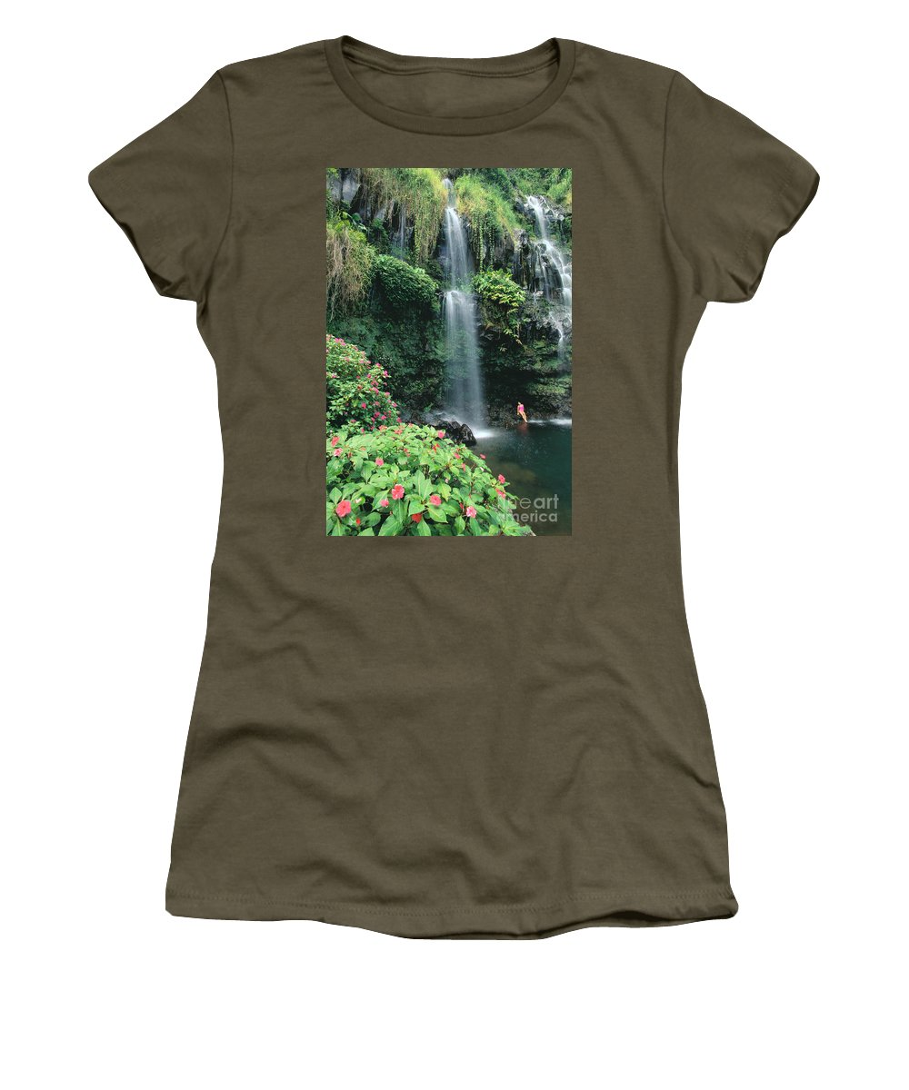 Beneath Women's T-Shirt featuring the photograph Woman Beneath Waterfall by Dana Edmunds - Printscapes