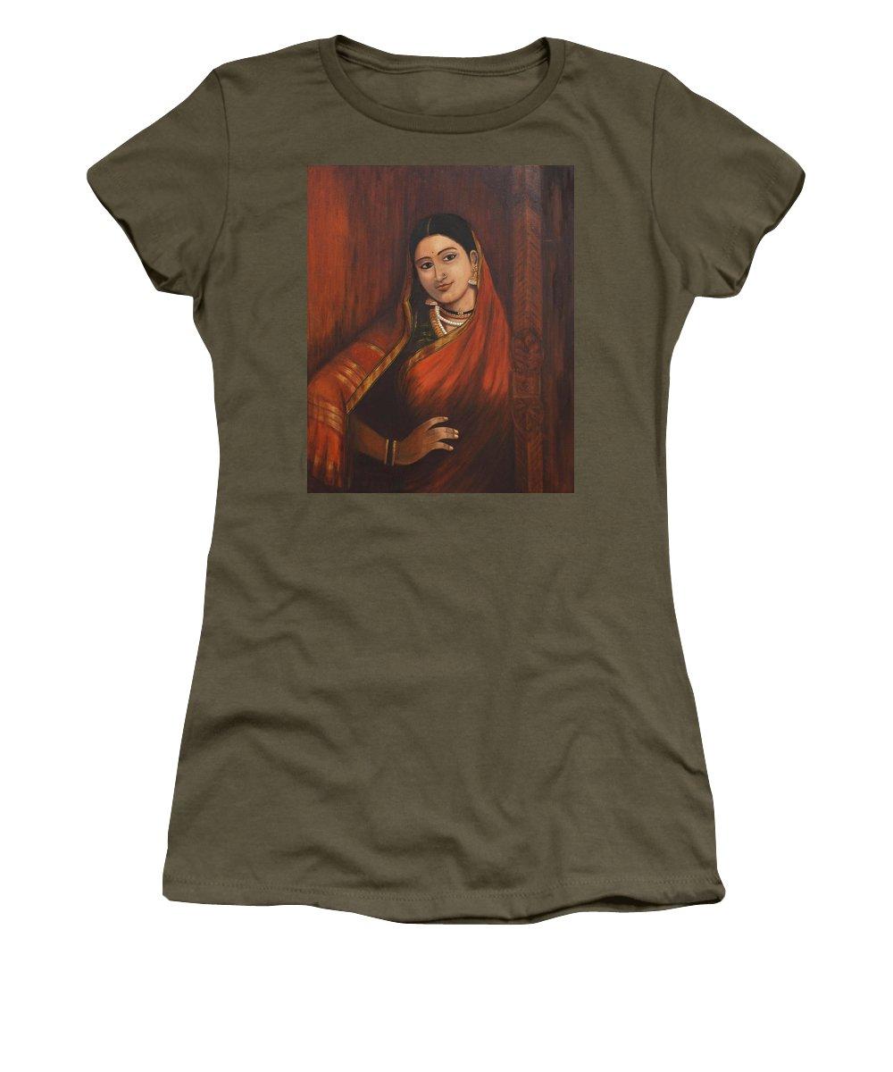 Woman Women's T-Shirt featuring the painting Woman In Saree - After Raja Ravi Varma by Usha Shantharam