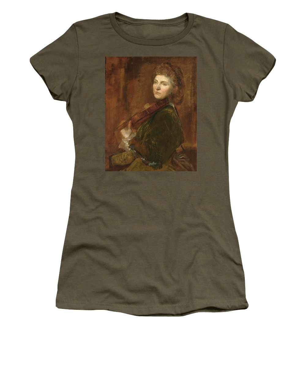Lady Hallé (woman Playing Violin) Women's T-Shirt (Athletic Fit) featuring the painting Woman Playing Violin by G F Watts