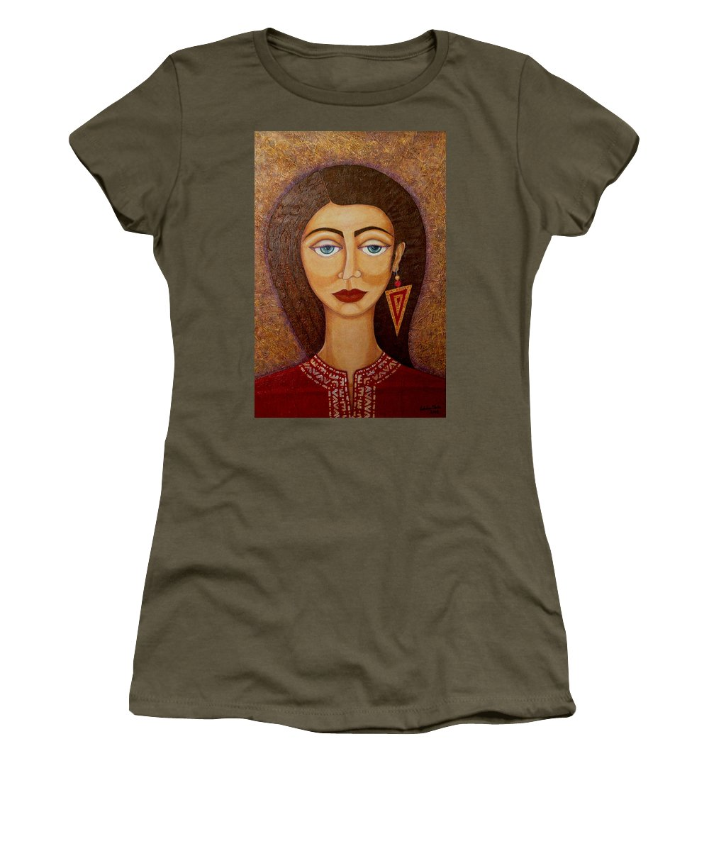 Market Women's T-Shirt (Athletic Fit) featuring the painting Woman S Market by Madalena Lobao-Tello