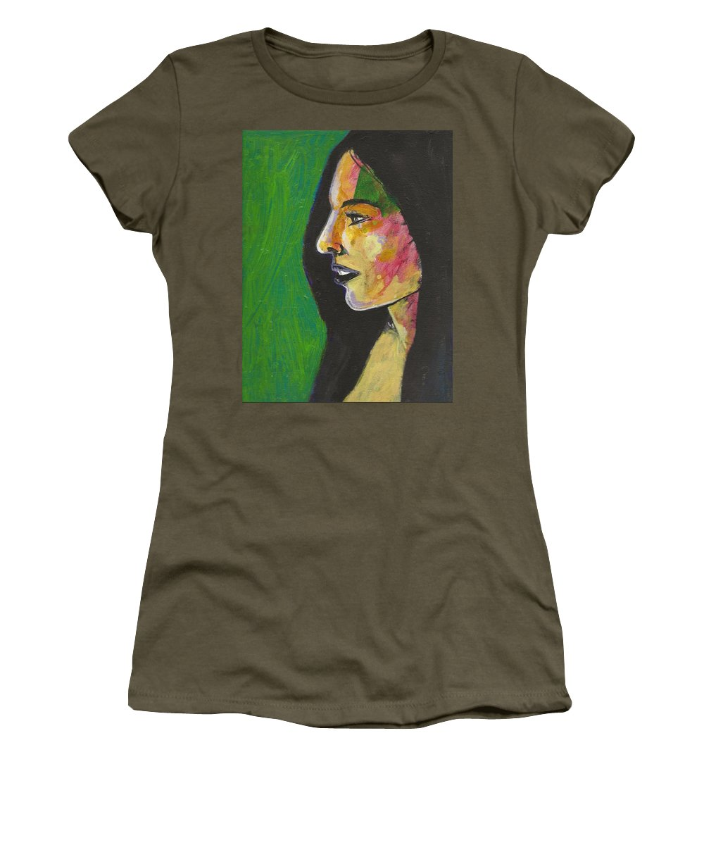 Woman Women's T-Shirt featuring the painting Woman With Black Lipstick by David Lovins