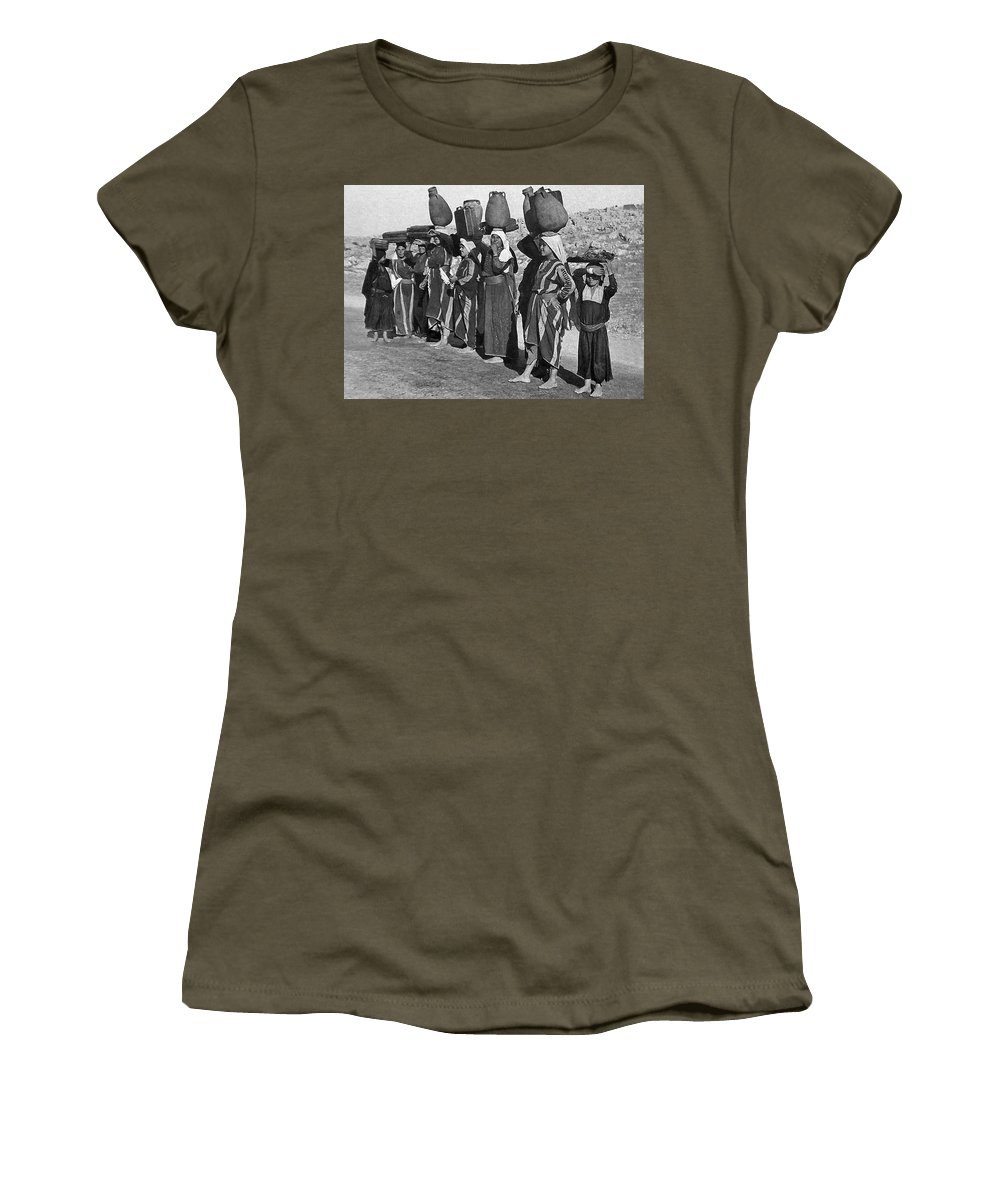 Women Women's T-Shirt (Athletic Fit) featuring the painting Women Of Camp by Munir Alawi