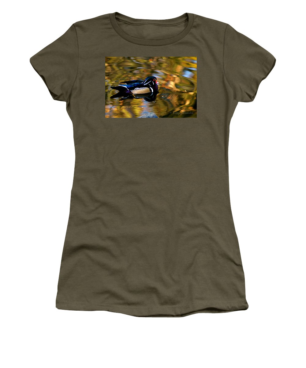Clay Women's T-Shirt featuring the photograph Wood Duck by Clayton Bruster