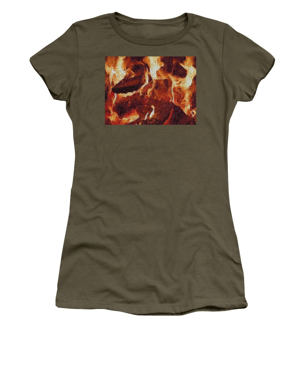 Wood Women's T-Shirt (Athletic Fit) featuring the digital art Wood Fire Mosaic by Tim Allen