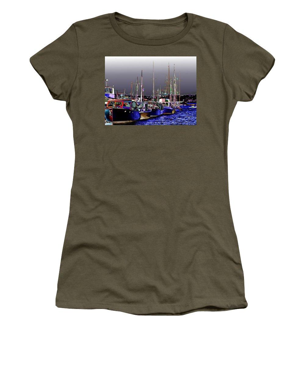 Seattle Women's T-Shirt featuring the digital art Wooden Boats 2 by Tim Allen