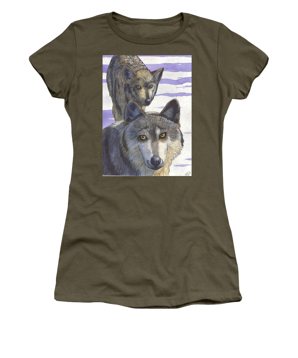 Wolf Women's T-Shirt featuring the painting Woofies by Catherine G McElroy