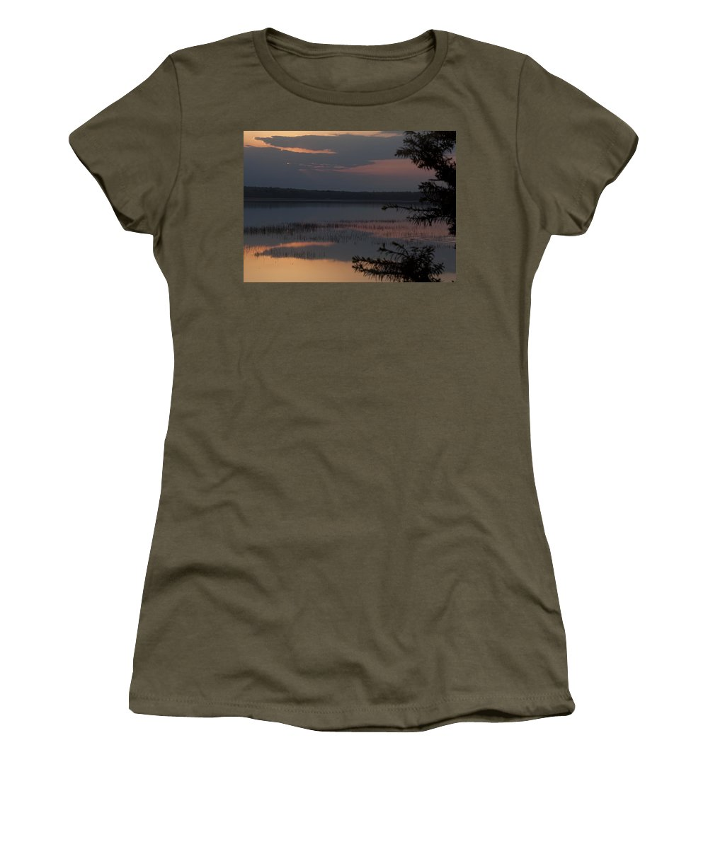 Sunrise Women's T-Shirt (Athletic Fit) featuring the photograph Worden's Pond Sunrise 2 by Steven Natanson