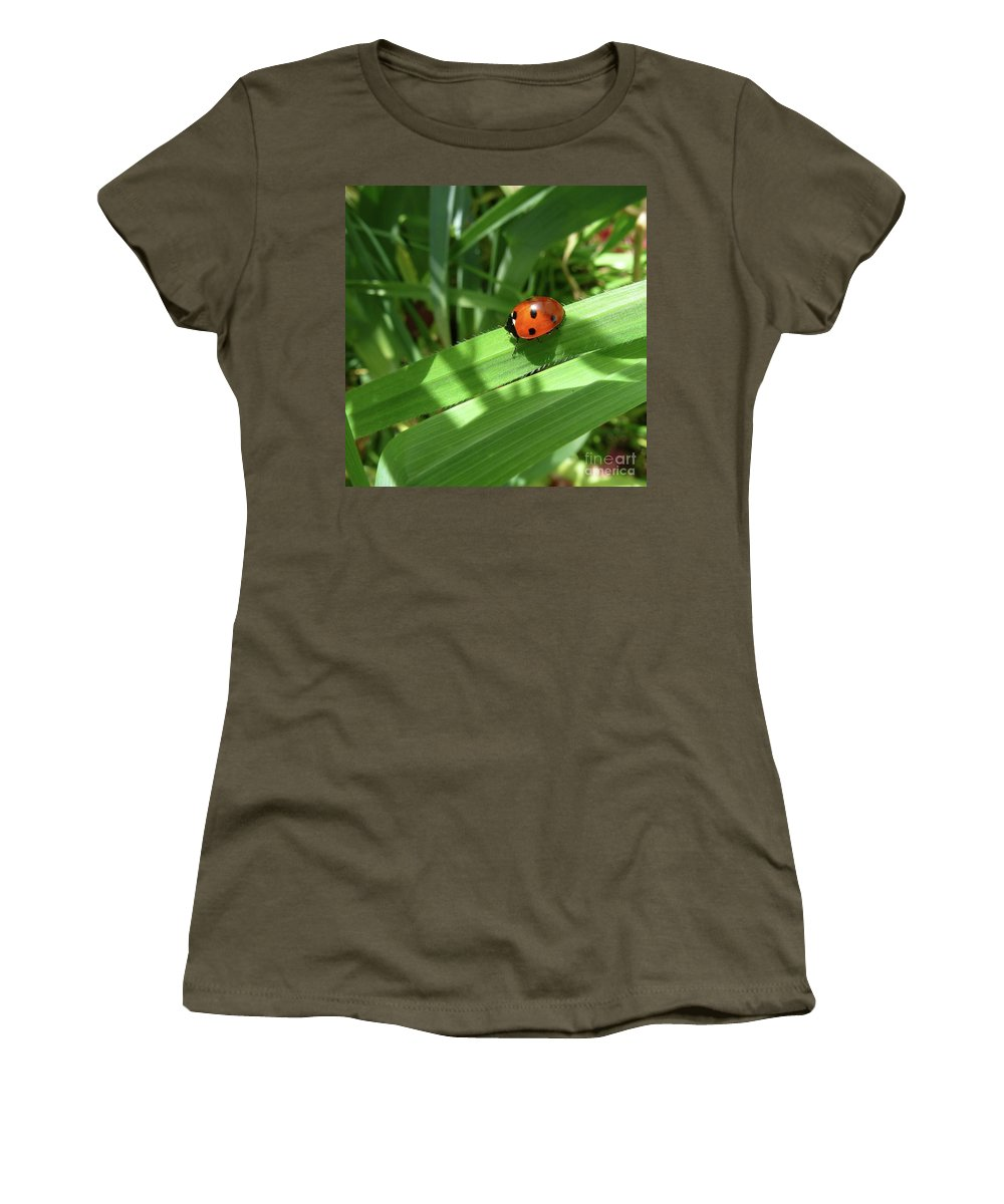Abloom Women's T-Shirt featuring the photograph World Of Ladybug 1 by Jean Bernard Roussilhe