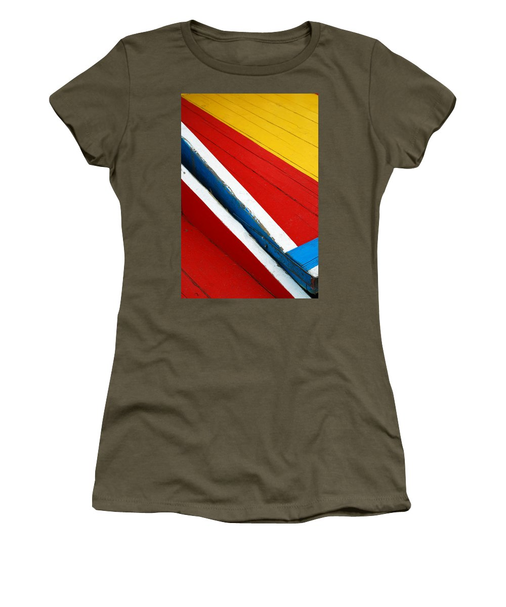 Red Women's T-Shirt (Athletic Fit) featuring the photograph Xochimilco Boat Abstract 1 by Skip Hunt