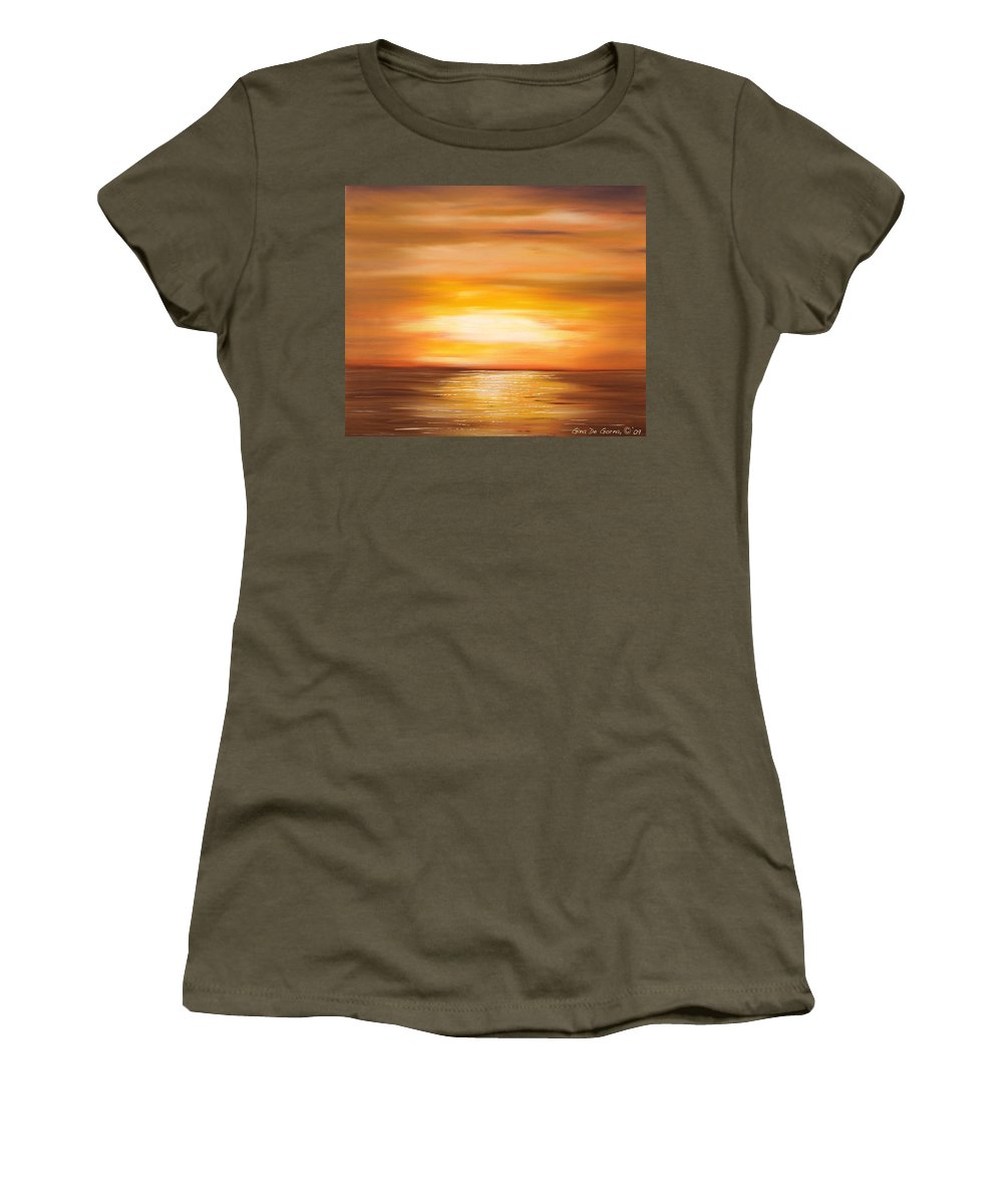 Yellow Gold Colors Sunsets Oil Painting Originals Gina De Gorna Art Works Women's T-Shirt featuring the painting Yellow Gold Sunset by Gina De Gorna