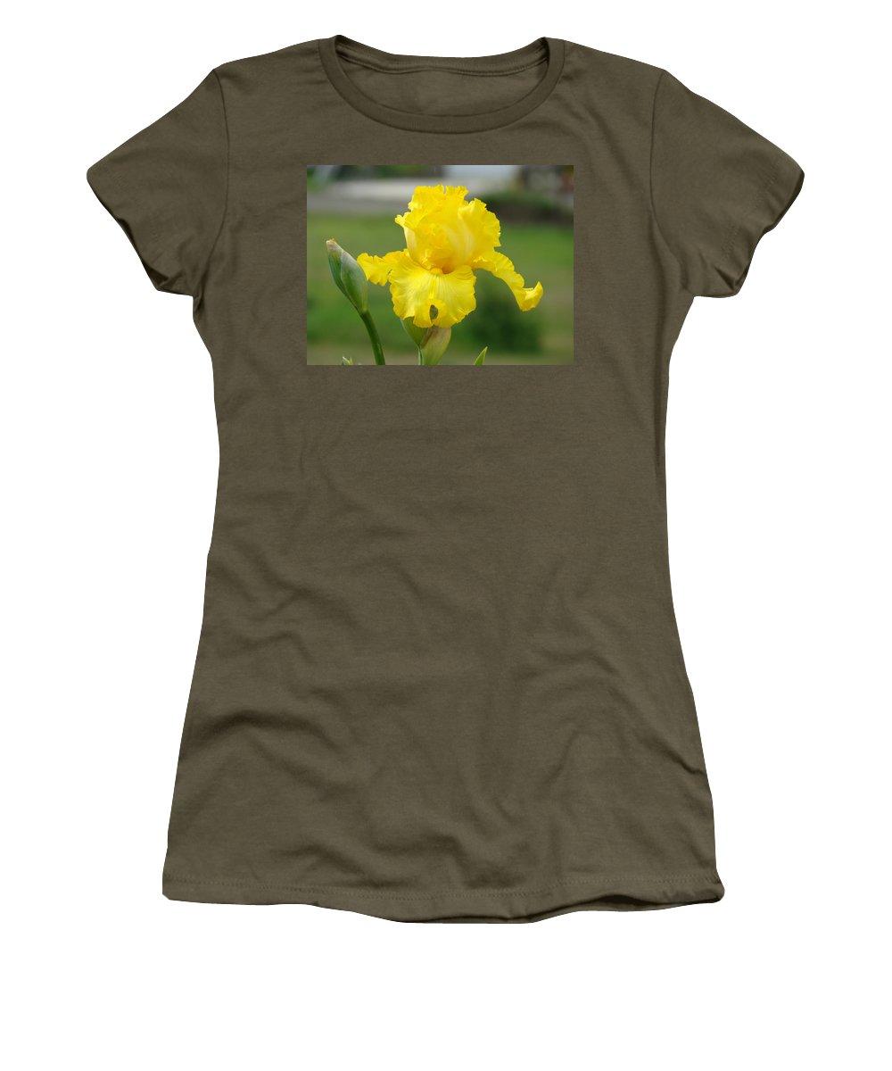 �irises Artwork� Women's T-Shirt (Athletic Fit) featuring the photograph Yellow Iris Flowers Art Prints Cards Irises Summer Garden Landscape by Baslee Troutman