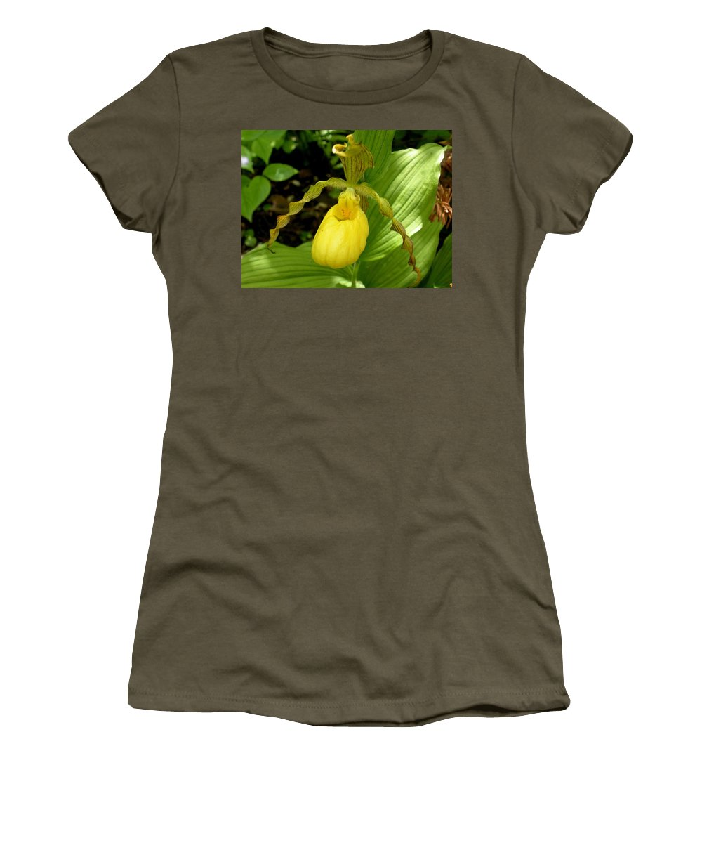 Orchid Women's T-Shirt (Athletic Fit) featuring the photograph Yellow Lady's Slipper by Nelson Strong