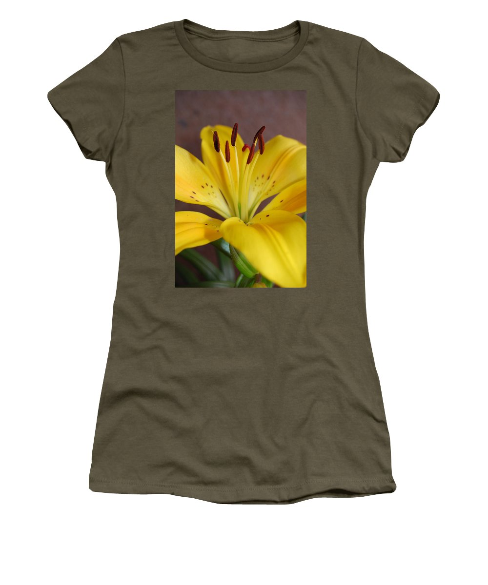 Flower Women's T-Shirt (Athletic Fit) featuring the photograph Yellow Lily 2 by Amy Fose