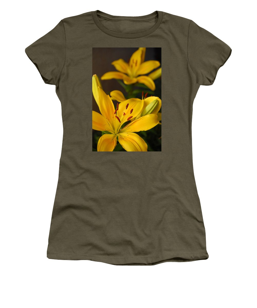 Flower Women's T-Shirt (Athletic Fit) featuring the photograph Yellow Lily Mirror by Amy Fose