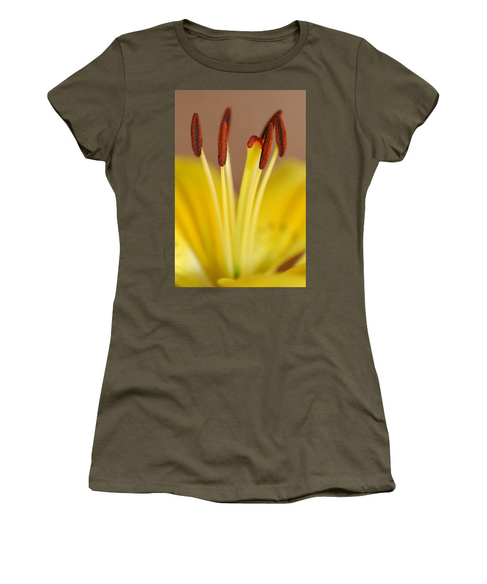 Flower Women's T-Shirt (Athletic Fit) featuring the photograph Yellow Lily Reach 1 by Amy Fose