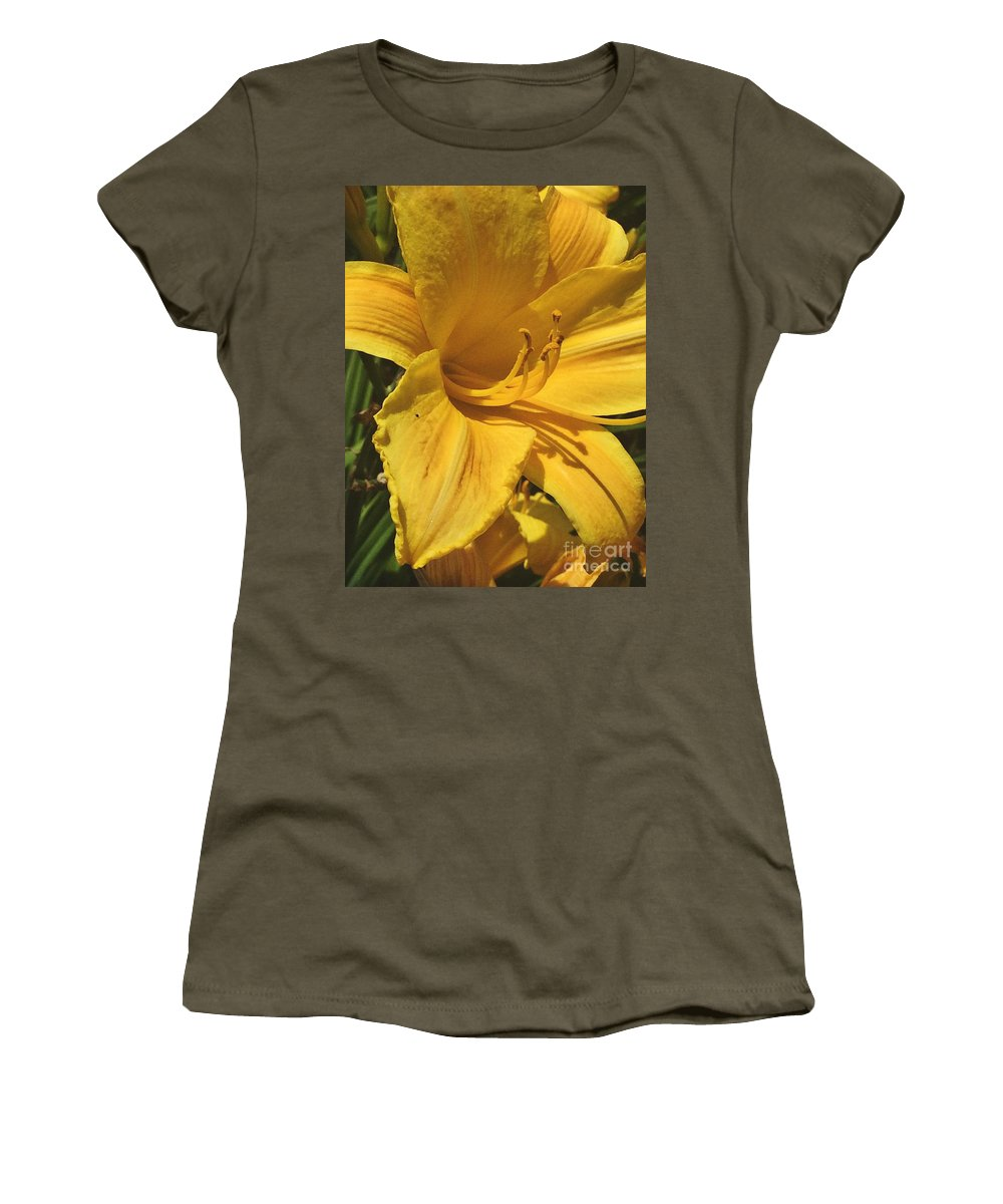Yellow Lily Women's T-Shirt featuring the photograph Yellow Lily Shines Brightly by Robin Maria Pedrero