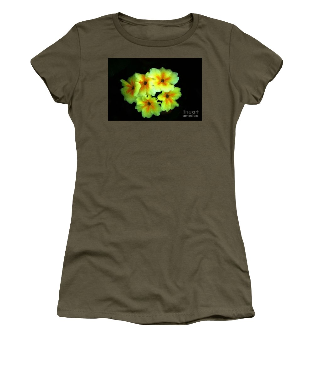 Digital Photo Women's T-Shirt (Athletic Fit) featuring the photograph Yellow Primrose 5-25-09 by David Lane