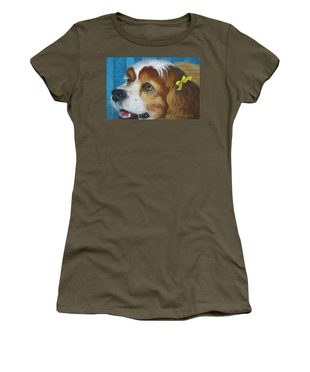 Spaniel Women's T-Shirt featuring the painting Yellow Ribbons Close-up by Minaz Jantz