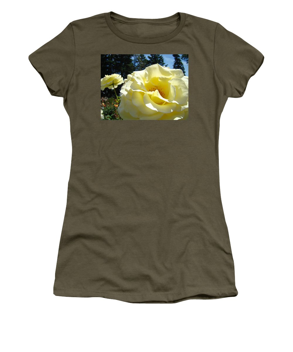 Rose Women's T-Shirt (Athletic Fit) featuring the photograph Yellow Rose Garden Landscape 3 Roses Art Prints Baslee Troutman by Baslee Troutman
