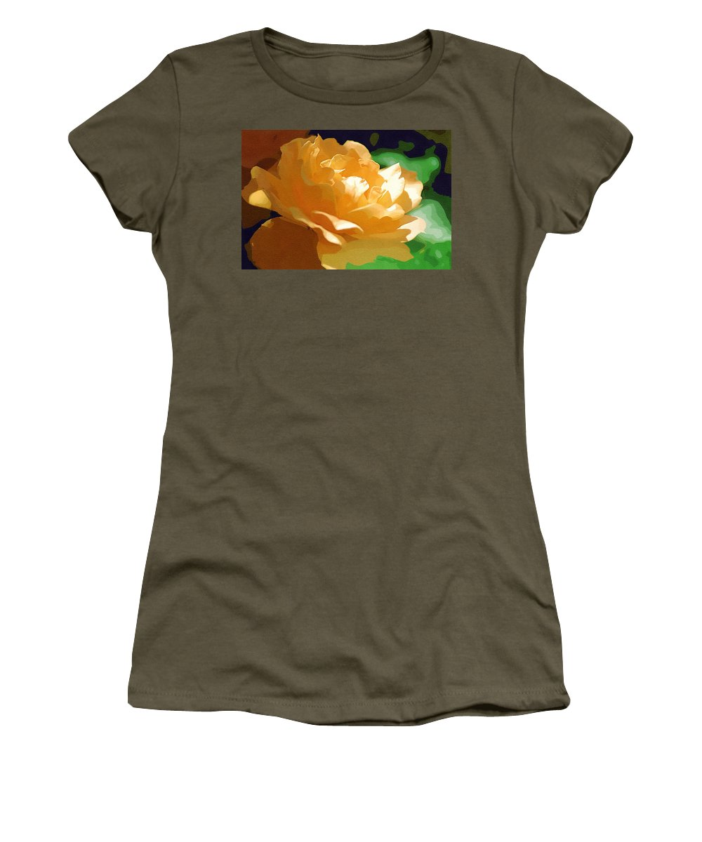 Yellow Rose Women's T-Shirt (Athletic Fit) featuring the photograph Yellow Rose Of Texas by Donna Bentley