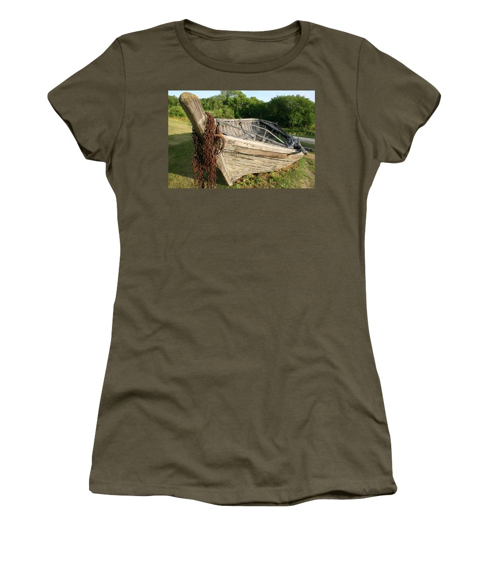 York Boat Women's T-Shirt (Athletic Fit) featuring the photograph York Boat - Fort Garry by Nelson Strong
