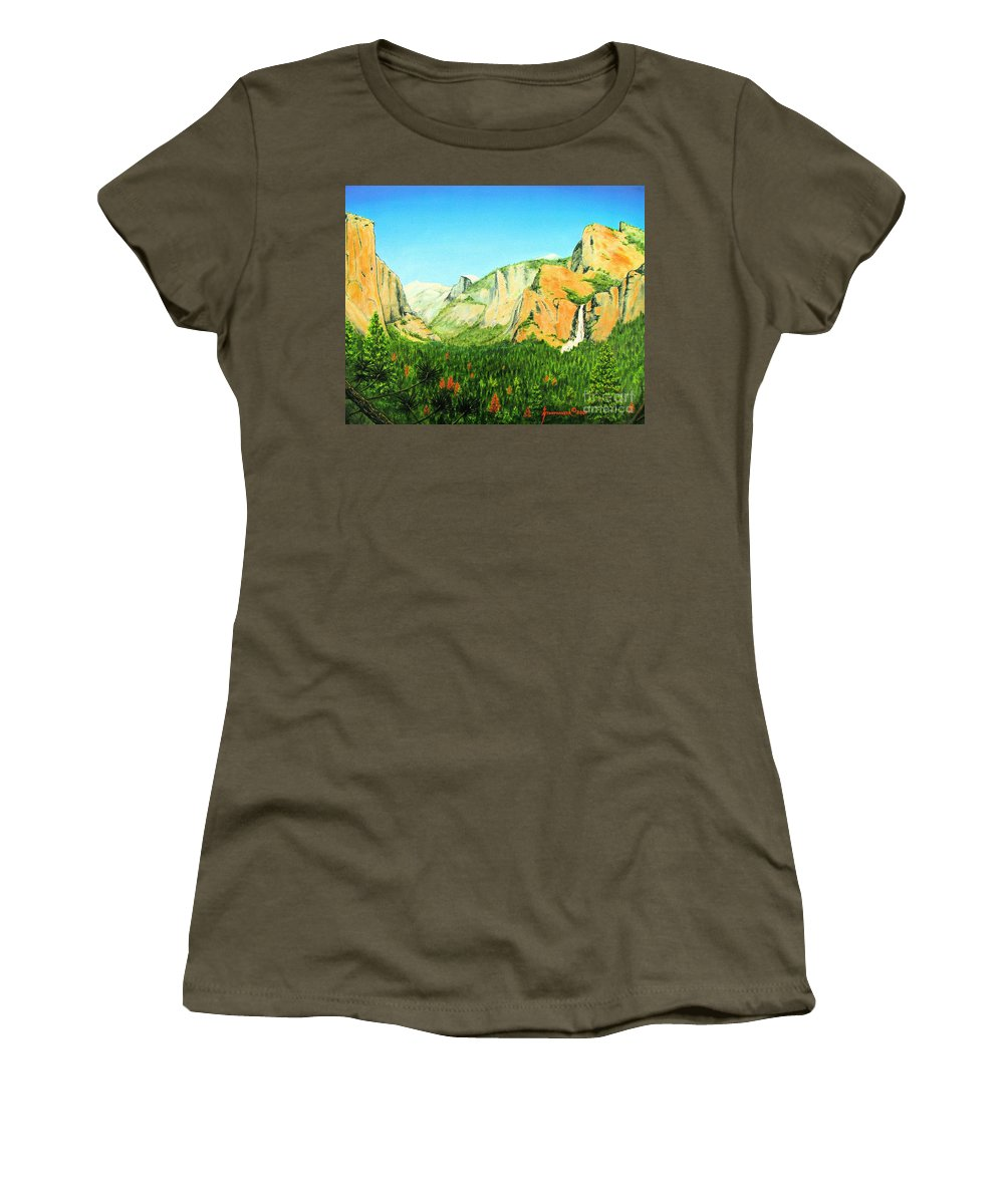 Yosemite National Park Women's T-Shirt (Athletic Fit) featuring the painting Yosemite National Park by Jerome Stumphauzer
