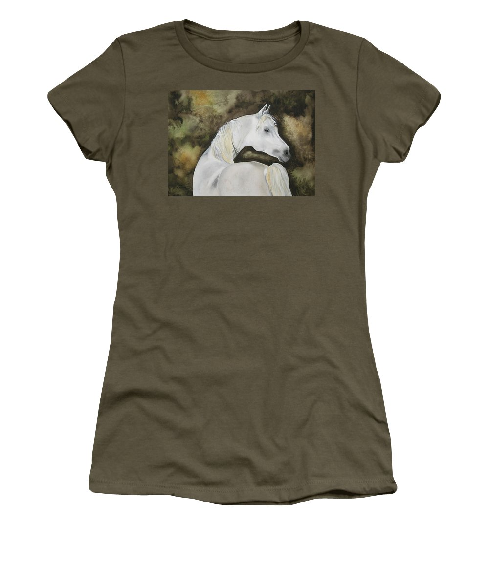 Horse Women's T-Shirt featuring the painting You Talking To Me by Jean Blackmer
