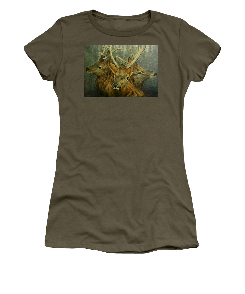 Elk Women's T-Shirt featuring the painting Young Elk Trio- Wapiti by Elaine Booth-Kallweit